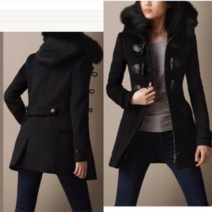 Burberry fur trim duffle wool coat